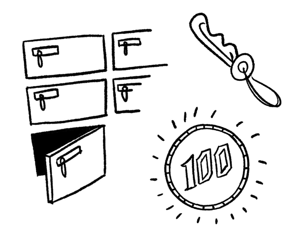 100 yen coin for lockers at the changing rooms at the bath